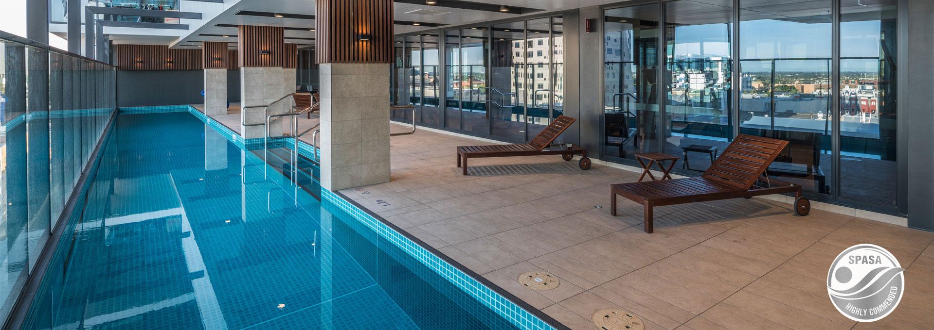 lap pool with underwater windows