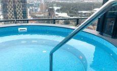 Penthouse spa pool LED lights Torrens river Adelaide