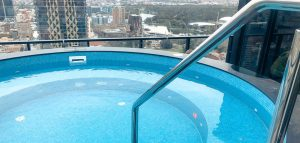Penthouse spa pool LED lights Torrens river Adelaide
