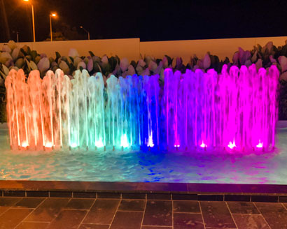 colour changing LED interactive water features